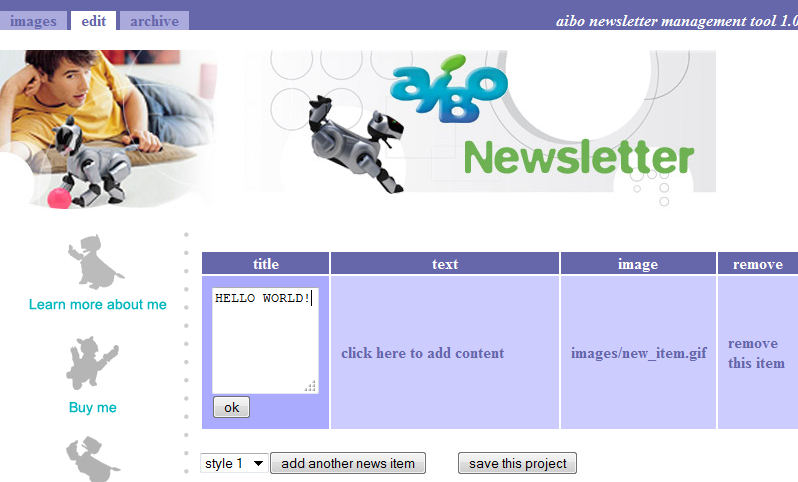 Screenshot of Sony Europes AIBO robotic dog newsletter cms tool